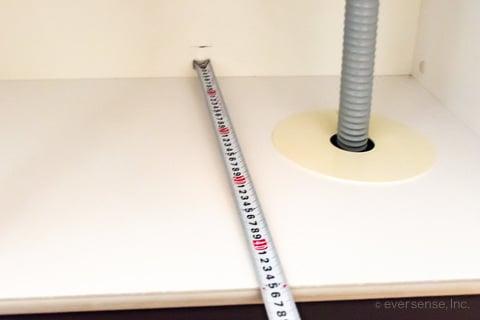 シンク下収納の奥行きを測る