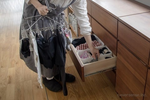 マキさん 洗濯物のたたまない収納