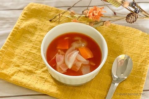 玉ねぎ トマト スープ レシピ 玉ねぎと人参のミネストローネ風スープ
