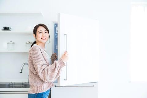 キッチン 冷蔵庫 女性 ごきげん
