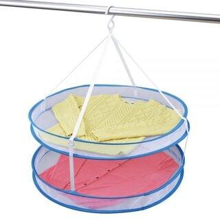 ダイヤコーポレーション いろいろ物干しネット・2段 折り畳み 落ちにくいラウンドガード付き