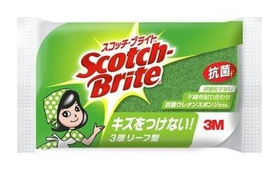 スコッチ・ブライト™ 抗菌ウレタンスポンジたわしリーフ型3層