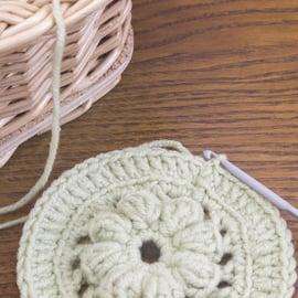 リフ編み かぎ針 コースター 毛糸
