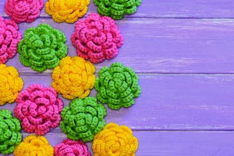 バラ 花 編み物 モチーフ